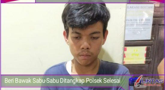 Foto : Beri Ardiansyah (25) warga Dusun IV Veteran Desa Kwala Air Hitam, Kecamatan Selesai, Kabupaten Langkat, Sumatera Utara, ditangkap Unit Reskim Polsek Selesai yang diduga membawa narkotika jenis sabu-sabu, Selasa (14/04/2021)